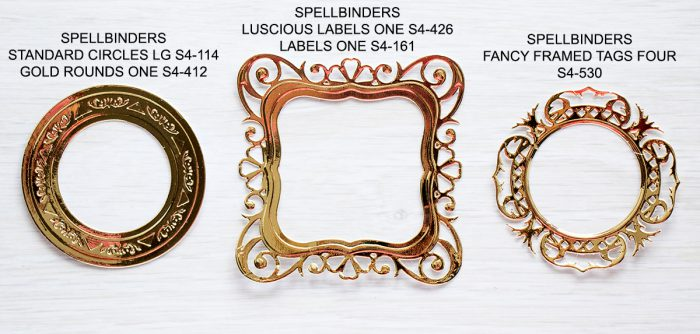 Spellbinders Gold Frames & Die Cuts Examples for CAS cards