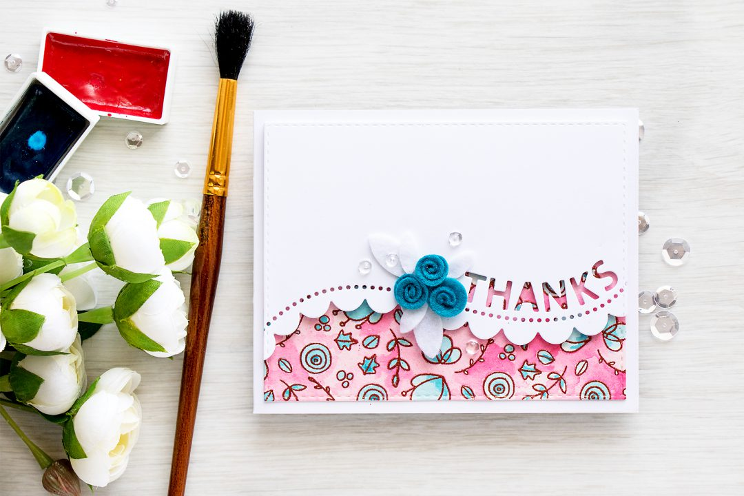 Simon Says Stamp | Watercolor + Felt Thanks Card
