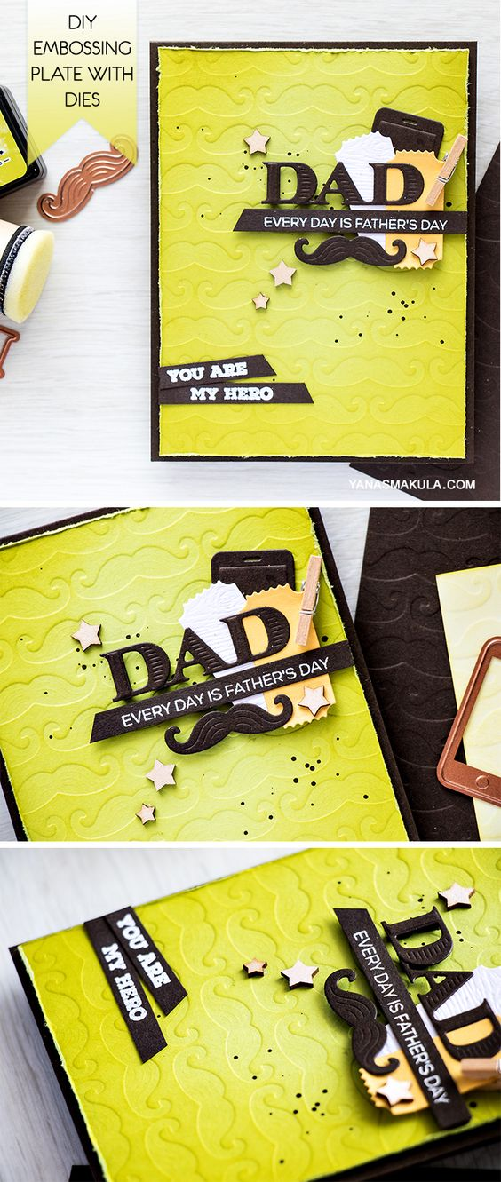 Create a unique Father's Day card using Spellbinders dies. Learn how to make a DIY embossing plate with the help of dies, cardstock and adhesive. I love using dies to create my own unique embossing plates. Its a bit time consuming, but so worth it in the end! After die cutting a bunch of mustaches out of thick cardstock.... Video and details here: https://www.yanasmakula.com/?p=53918