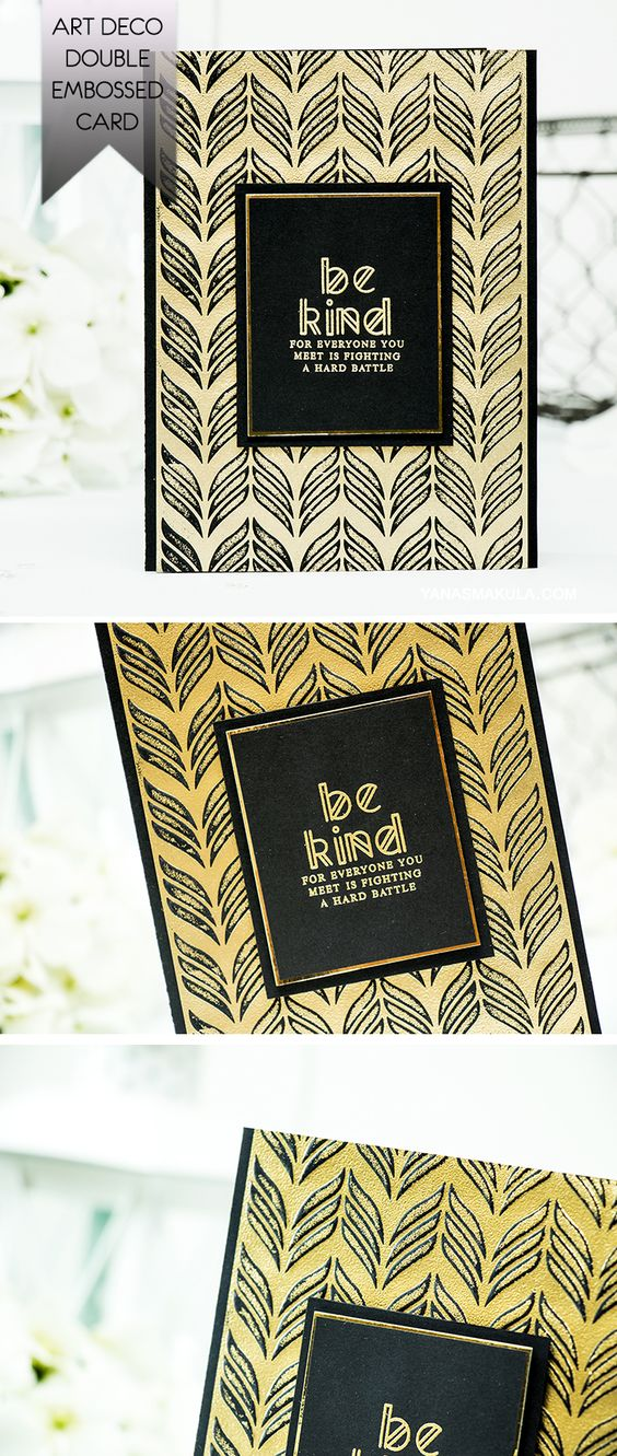 Spellbinders | Double Embossing with Texture Plates. Art Deco Card. Video