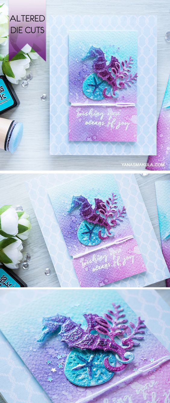 Spellbinders | Adding color and texture to die cuts with Spellbinders Seahorse and Sand Dollar Dies S1-015 and Distress inks. Video tutorial by Yana Smakula