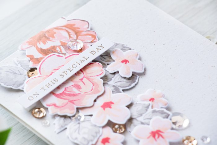 Tips for selecting color combinatios for cards - On This Special Day Wedding Card using Altenew Vintage Flowers stamps + dies