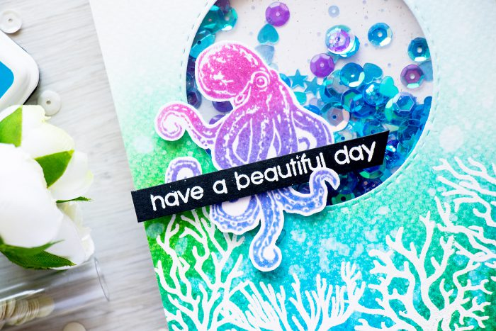 July 2016 My Monthly Have a Beautiful Day Underwater Octopus Coral Reef Card by Yana Smakula for Hero Arts