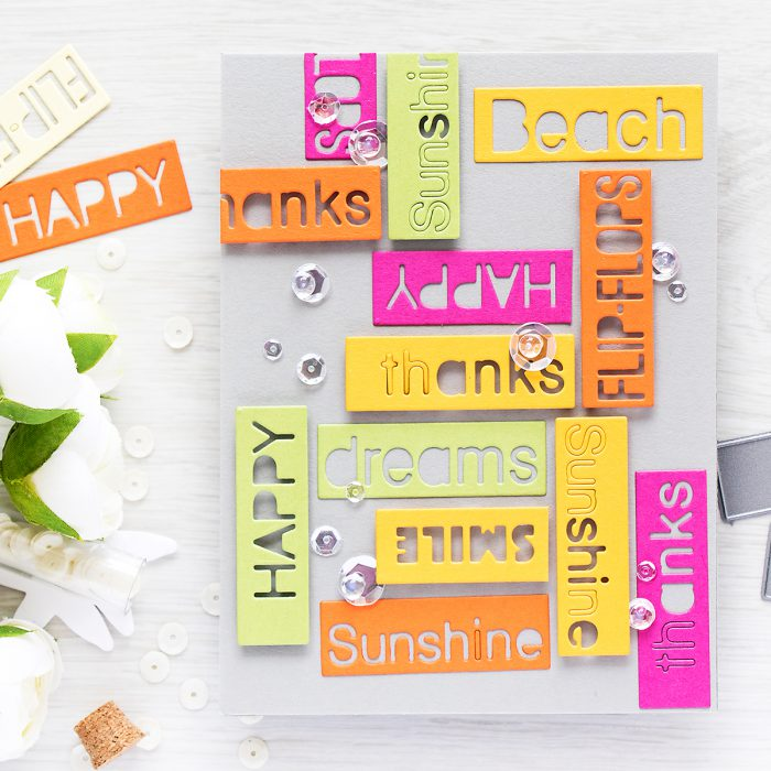 Colorful Word Blocks Card with Summer Greetings Dies from Simon Says Stamp by Yana Smakula