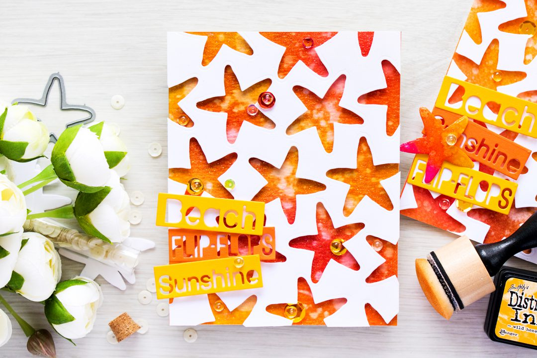 Simon Says Stamp   Beach, Flip Flops, Sunshine! Negative die cut star fish pattern with a distress ink blended background. Video & Card by Yana Smakula