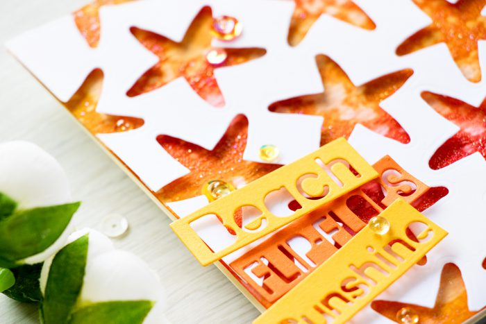 Simon Says Stamp | Beach, Flip Flops, Sunshine! Negative die cut star fish pattern with a distress ink blended background. Video & Card by Yana Smakula
