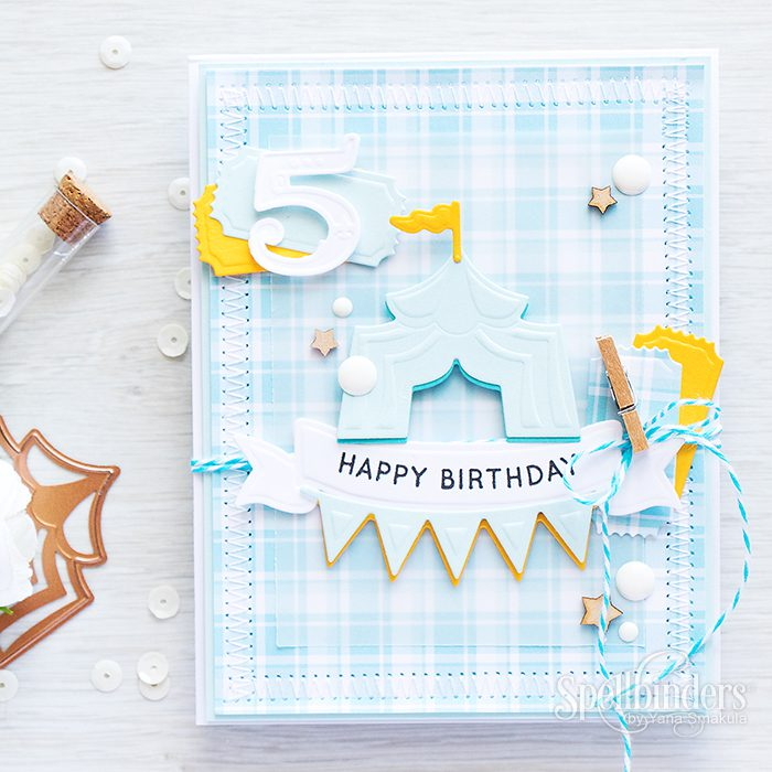 Spellbinders | Happy Birthday - Baby Boy Card. Adding colorful shadow to die cuts. Video
