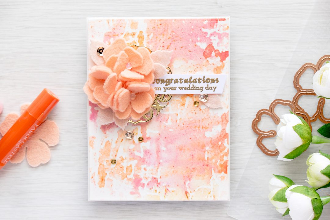 Spellbinders | Stamping with embossing folders & Gelatos. Wedding Card using Shabby Posies dies and Blistered embossing folder. Card & Video by Yana Smakula