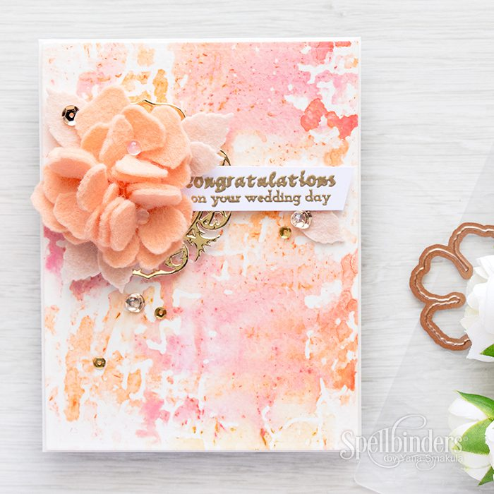 Spellbinders | Stamping with embossing folders & Gelatos. Wedding Card using Shabby Posies dies and Blistered embossing folder. Card & Video by Yana Smakula