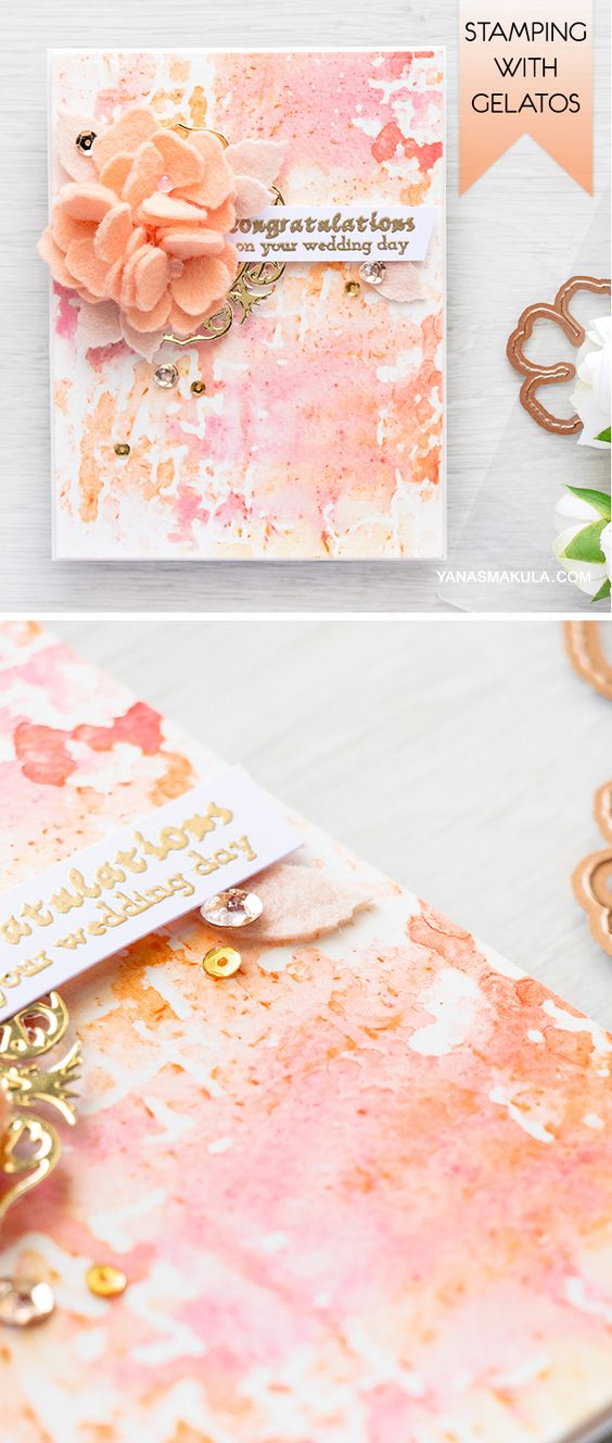 Spellbinders | Stamping with embossing folders & Gelatos. Wedding Card using Shabby Poisies dies and Blistered embossing folder. Card & Video by Yana Smakula