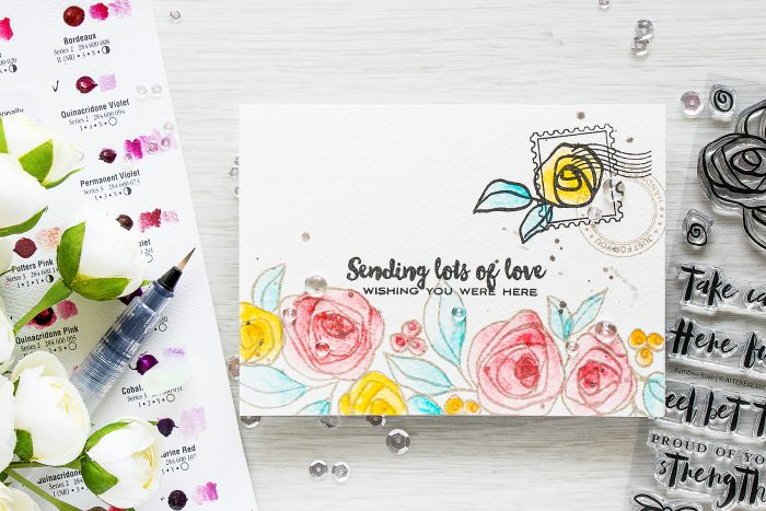Altenew | Sending Lots of Love. Wish You Were Here. Bamboo Rose & Happy Mail Card by Yana Smakula
