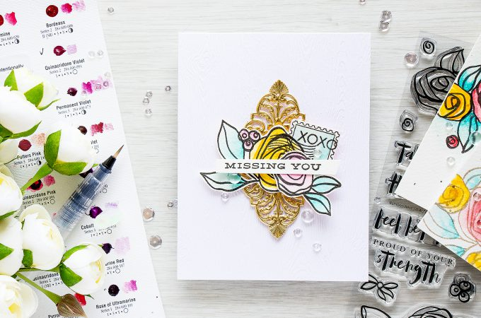 Altenew   Missing You. Bamboo Rose & Happy Mail Card by Yana Smakula