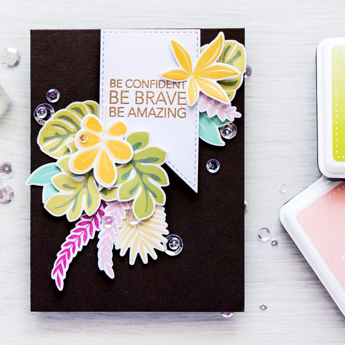 Simon Says Stamp | Jungle Encouragement Card using SSS Tropical Leaves stamps & dies. Project by Yana Smakula