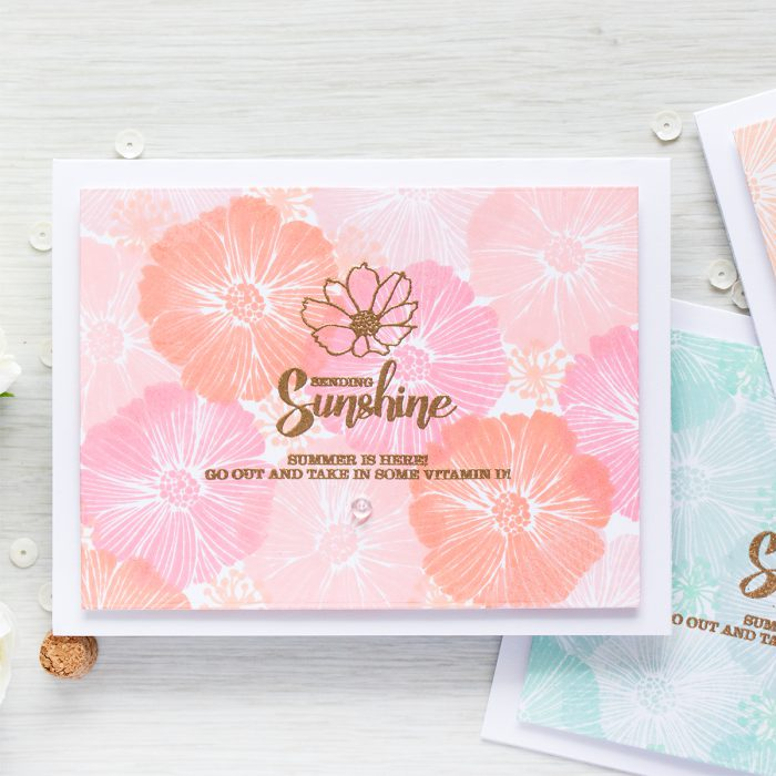 Simon Says Stamp | Sending Sunshine Stamped Floral Pattern Cards with Masterpiece Box Products.