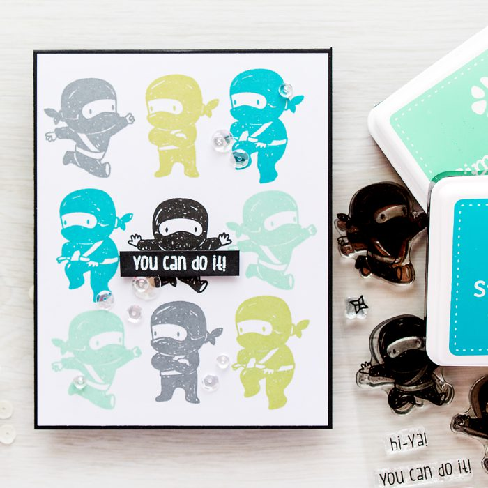 Simon Says Stamp | Tiny Ninjas You Can Do It card | Masterpiece Box Release - Mama Elephant
