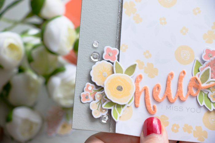 WPlus9 | Silver Foiled Accents on Flowers - Hello I Miss You Card by Yana Smakula using Fresh Cut Florals Stamps & Dies