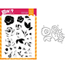 Wplus9 Freehand Florals Clear Stamp and Die Combo