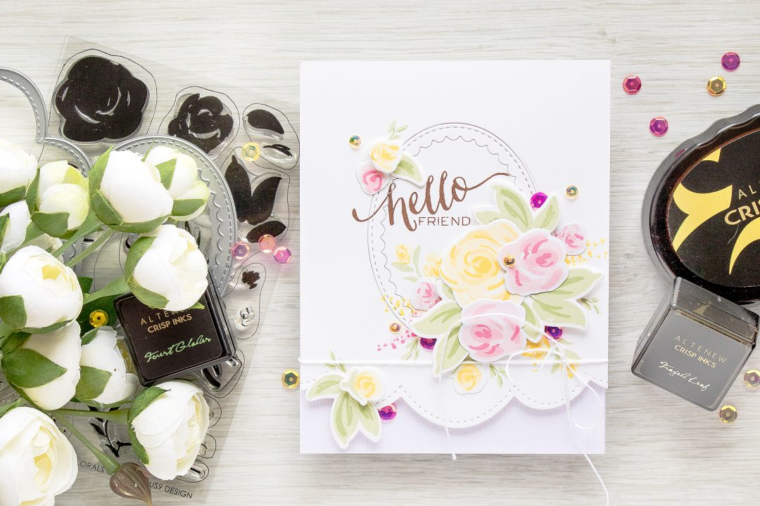 Create Simple Floral Card with Faux Hand Pained Flowers using stamps from WPlus9, inks from Altenew and dies from Pretty Pink Posh. Watch video tutorial for details - https://www.youtube.com/watch?v=CZ0tVIv8O_s