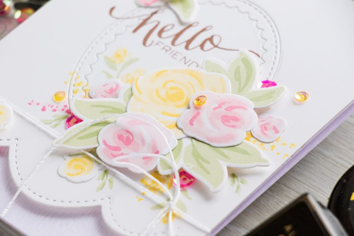 Create Simple Floral Card with Faux Hand Painted Flowers using stamps from WPlus9, inks from Altenew and dies from Pretty Pink Posh. Watch video tutorial for details - https://www.youtube.com/watch?v=CZ0tVIv8O_s