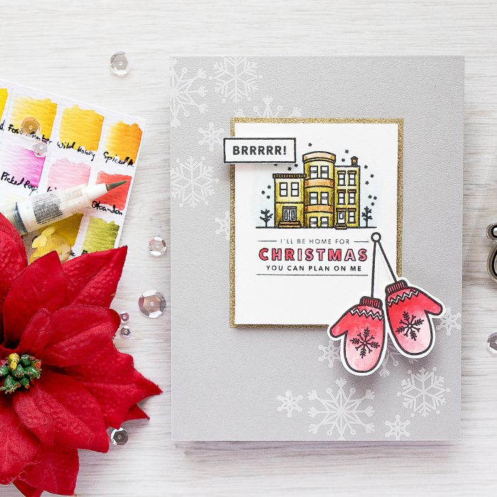 Hero Arts | I'll Be Home For Christmas Simple Stamped & Watercolored Card