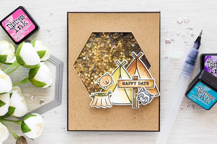 Pretty Pink Posh | Starry Night Camping Friends Shaker Card by Yana Smakula