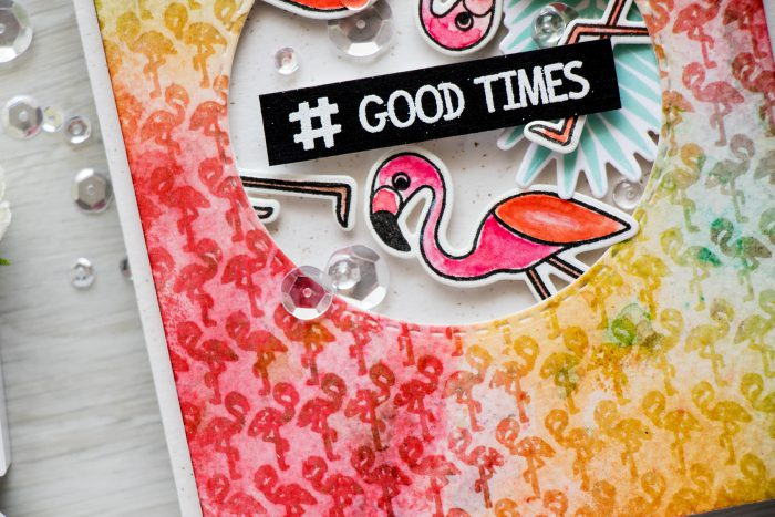 Simon Says Stamp | Distress Emboss Resist Flamingo Background