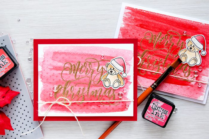 Simon Says Stamp Stamptember Merry Christmas Watercolor Wash Holiday Cards