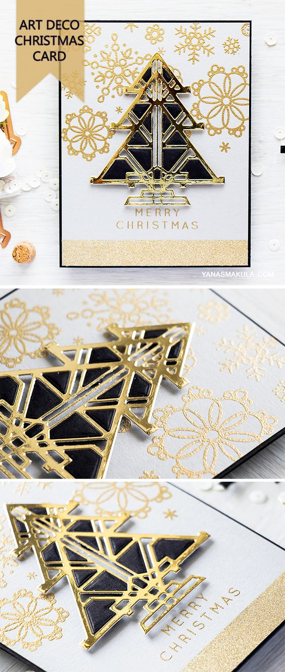 Spellbinders | Art Deco Christmas Card. Video tutorial by Yana Smakula