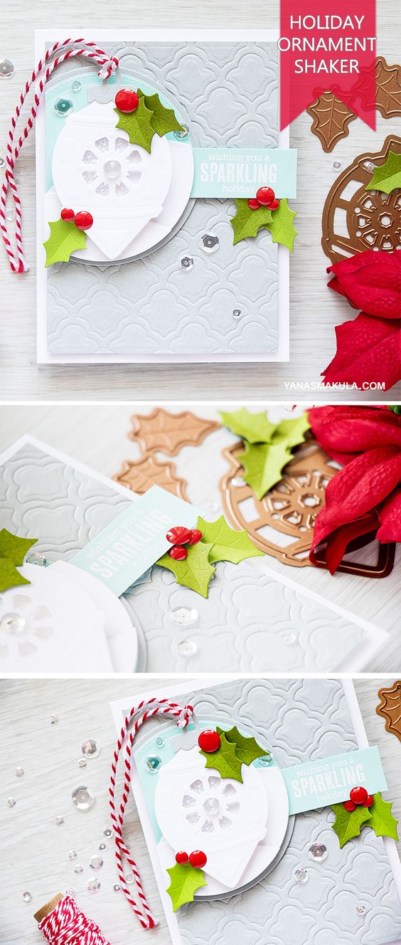 Spellbinders | Sparkling Shaker Christmas Card. Video tutorial by Yana Smakula