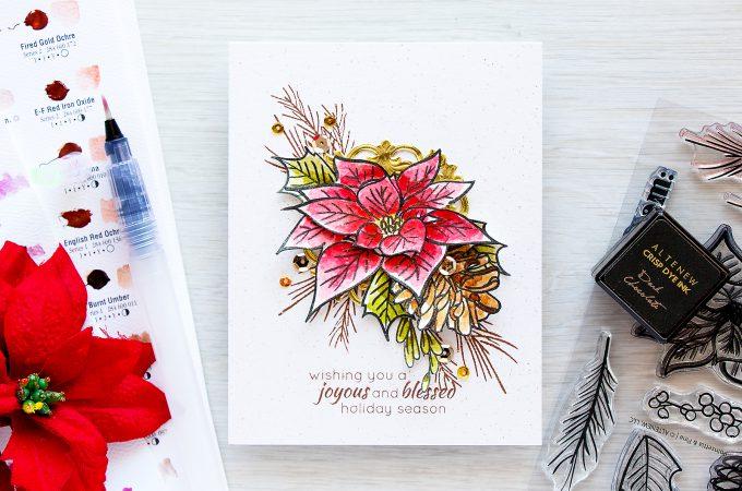 Altenew   Watercolor Poinsettia & Pine Christmas Card