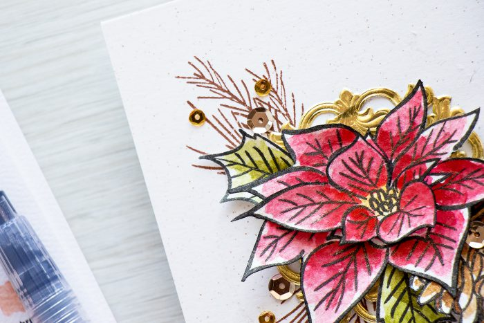 Altenew | Watercolor Poinsettia & Pine Christmas Card
