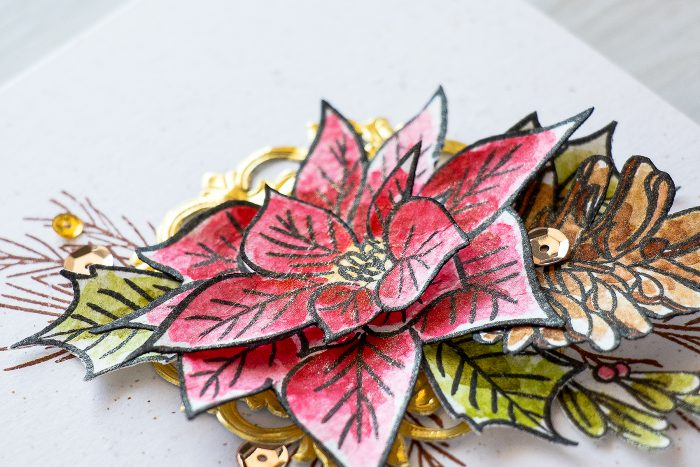 Altenew | Watercolor Poinsettia & Pine Christmas Card