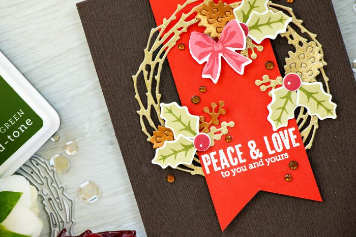 Simple Christmas Wreath Card. Hero Arts September My Monthly Hero Kit - Peace & Love Christmas Card by Yana Smakula