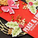 Simple Christmas Wreath Card. Hero Arts September My Monthly Hero Kit - Peace & Love Christmas Card by Yana Smakula