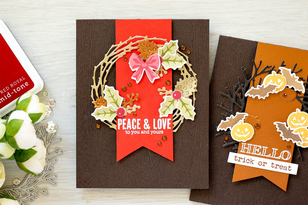 Simple Wreath Cards. Hero Arts September My Monthly Hero Kit - Trick or Treat Card and Christmas Card by Yana Smakula