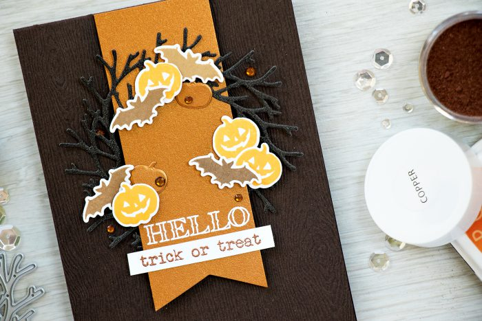 Simple Halloween Wreath Card. Hero Arts September My Monthly Hero Kit - Trick or Treat Card by Yana Smakula