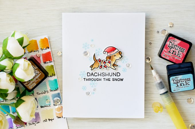 Simon Says Stamp - Its Stamptember! Lawn Fawn Collaboration - Dachshund Through The Snow Card by Yana Smakula