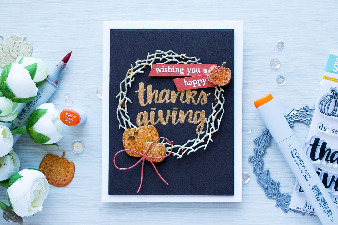 Its STAMPtember! Hero Arts Collaboration – Happy Thanksgiving Wreath Card by Yana Smakula