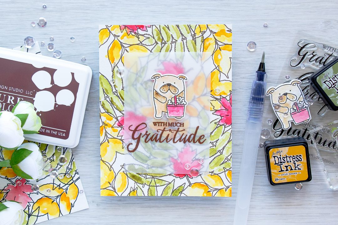 With Much Gratitude Card. Loose Watercolor Background for a Fall Card. Video Tutorial. Using WPlus9 Grateful Greetings, Autumn Leaves and Friends for All Seasons: Summer.