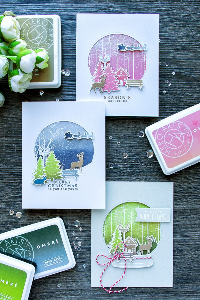 Hero Arts | October My Monthly Hero Blog Hop - Snow Globe Ombre Cards