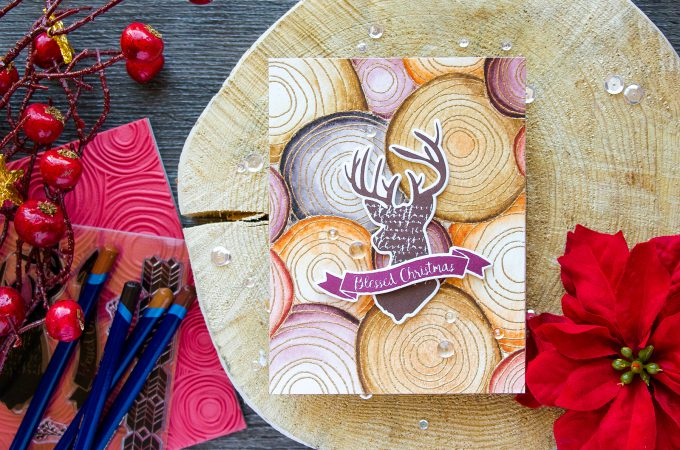 Simon Says Stamp | Masculine Christmas Card with Wood Slices Watercolor Background. Video