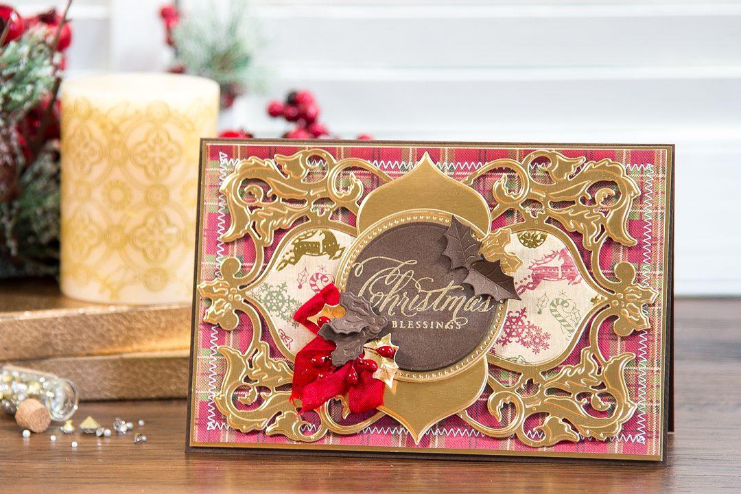 Spellbinders   Christmas Blessings Card using Christmas Dove Frame Die. Video