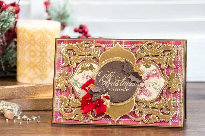 Spellbinders | Christmas Blessings Card using Christmas Dove Frame Die. Video