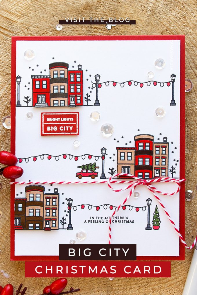 Hero Arts | Bright Lights - Big City Christmas Card by Yana Smakula featuring Hero Arts Mini Christmas Stamp Set and Hero Arts Kelly's It's Christmas Time #cardmaking #stamping #christmascard