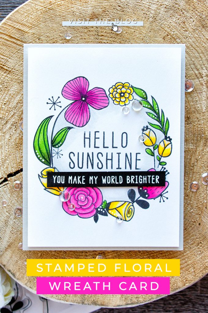 Altenew | Hello Sunshine Floral Wreath Card by Yana Smakula (colored with Prismacolor pencils) featuring Altenew Hello Sunshine Stamp Set #cardmaking #altenew #pencilcoloring