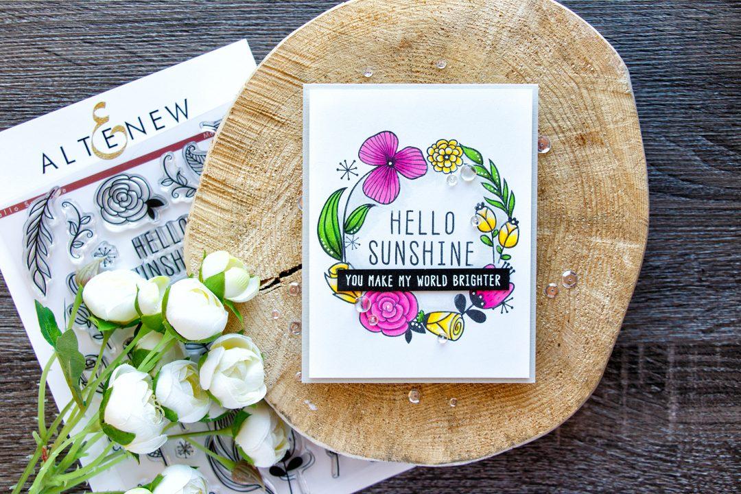 Altenew | Hello Sunshine Floral Wreath Card. November Release Blog Hop. Giveaway