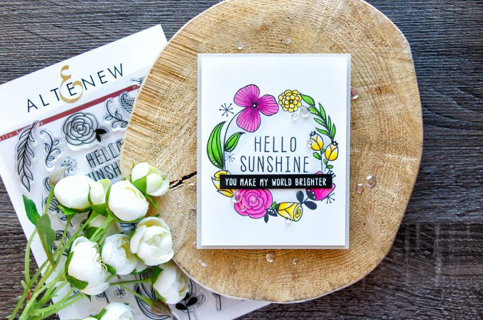 Altenew | Hello Sunshine Floral Wreath Card. November Release Blog Hop. Giveaway