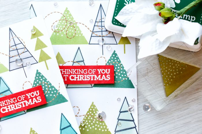 Simon Says Stamp | Caring Hearts Drive - Stamped Christmas Tree Patterns. Card & Video Tutorial by Yana Smakula