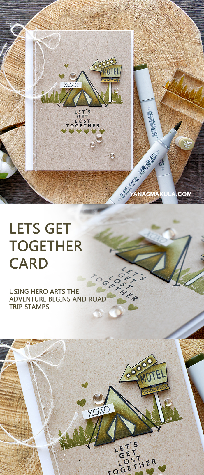 lets get together card  using hero arts The Adventure Begins and Road Trip Stamps