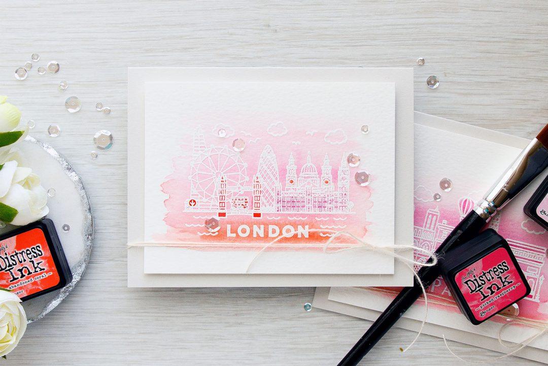 Hero Arts | Watercolor Paris & London Valentine's Day Cards. Blog Hop + Giveaway